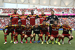 09 August 2014: Salt Lake's starters. Front row (left to right) Joao Plata (ECU), Abdoulie Mansally (GAM), Ned Grabavoy, Equipment Manager Kevin Harter, Javier Morales (ARG), Kyle Beckerman, and Luke Mulholland (ENG). Back Row (left to right): Chris Schuler, Carlos Salcedo (MEX), Olmes Garcia (COL), Nat Borchers, and Nick Rimando. Real Salt Lake hosted DC United at Rio Tinto Stadium in Sandy, Utah in a 2014 Major League Soccer regular season game. Salt Lake won the game 3-0.