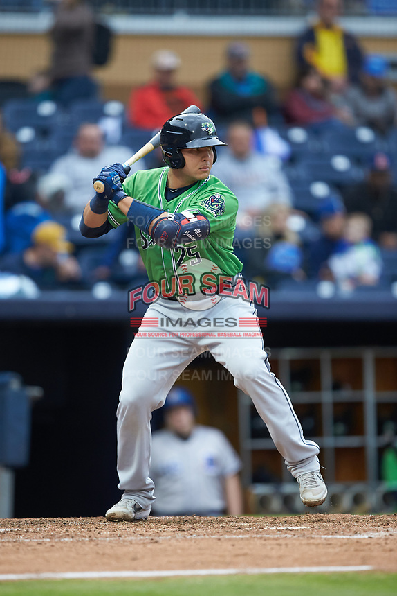 Alex Jackson (25) of the Gwinnett Braves at bat against the Durham Bulls at Durham Bulls Athletic Park on April 20, 2019 in Durham, North Carolina. The Bulls defeated the Braves 11-3 in game one of a double-header. (Brian Westerholt/Four Seam Images)