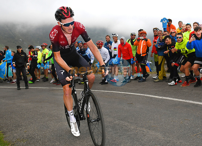 Tao Geoghegan Hart (GBR) Team Ineos attacks finishing 2nd on the final climb of Stage 16 of La Vuelta 2019  running 144.4km from Pravia to Alto de La Cubilla. Lena, Spain. 9th September 2019.<br /> Picture: Karlis | Cyclefile<br /> <br /> All photos usage must carry mandatory copyright credit (© Cyclefile | Karlis)