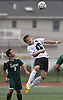 Anthony Papadopoulos #14 of Island Trees, right, makes a header during a Nassau County Conference A-6 varsity boys soccer game against host Seaford High School on Monday, Oct. 8, 2018. He scored the Bulldogs' lone goal midway through the second half the even the score. The game ended in a 1-1 tie.