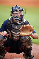 Mobile BayBears catcher Ronnie Freeman (8) during practice before a game against the Mississippi Braves on April 28, 2015 at Hank Aaron Stadium in Mobile, Alabama.  The game was suspended after the top of the second inning with Mobile leading 3-0, the BayBears went on to defeat the Braves 6-1 the following day.  (Mike Janes/Four Seam Images)