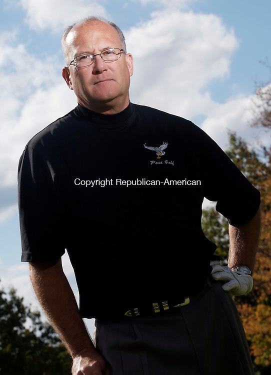 WATERTOWN, CT--02 October 07--100207TJ12 - Pete Stevens, Post University golf coach, poses during practice at the Crestbrook Golf Course in Watertown, Conn., on Tuesday, October 2, 2007. T.J. Kirkpatrick/Republican-American
