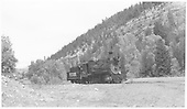 RGS 2-8-0 #74 running light near Placerville.<br /> RGS  Placerville, CO  Taken by Richardson, Robert W. - 9/25/1951