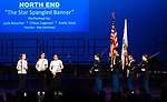 WATERBURY,  CT-052019JS03- North End Middle School students prepare to play &quot;The Star Spangled Banner&quot; as members of the Crosby High School JROTC present the colors during the Waterbury Public School's Celebration Community Through the Arts II district-wide talent show held Monday at the Palace Theater in Waterbury. <br /> Jim Shannon Republican American