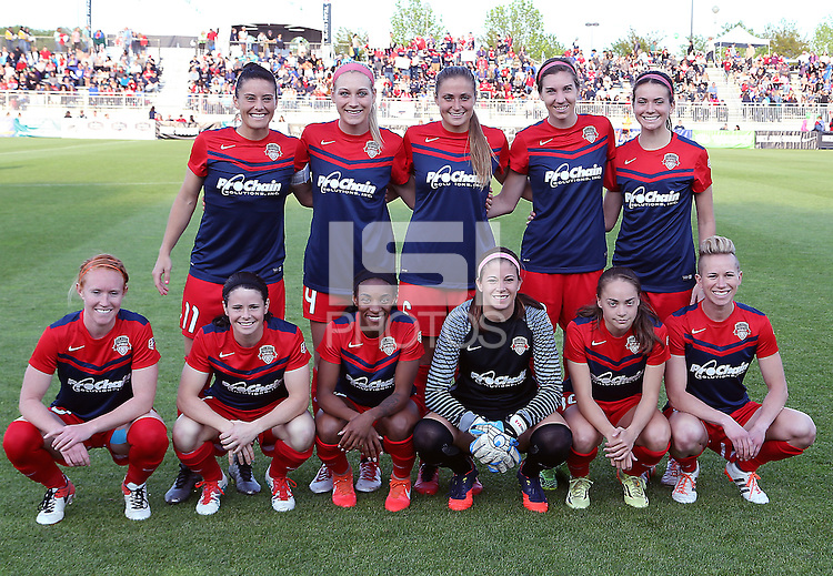Boyds, MD - Saturday May 07, 2016: Washington Spirit starting eleven before a regular season National Women's Soccer League (NWSL) match at Maureen Hendricks Field, Maryland SoccerPlex. Washington Spirit tied the Portland Thorns 0-0.
