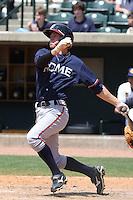 Chris Lovett #20 of the Rome Braves at bat during a game against the Charleston RiverDogs on April 27, 2010 in Charleston, SC.