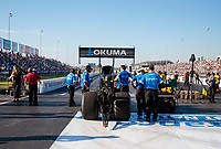 Sep 27, 2019; Madison, IL, USA; NHRA top fuel driver Leah Pritchett during qualifying for the Midwest Nationals at World Wide Technology Raceway. Mandatory Credit: Mark J. Rebilas-USA TODAY Sports
