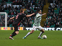 Beram Kayal being closed down by Jon Robertson in the Celtic v St Mirren Clydesdale Bank Scottish Premier League match played at Celtic Park, Glasgow on 15.12.12.
