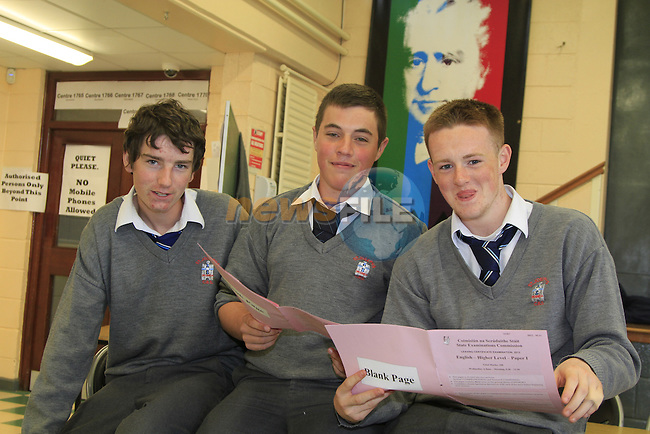 students from St Josephs CBS looking through the papers after there exams..Shane ikeeffe.Stuart Rooney.Dean Farrelly.Picture www.newsfile.ie