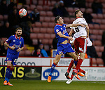 Chris Basham of Sheffield Utd wins the aerial ball - FA Cup Second round - Sheffield Utd vs Oldham Athletic - Bramall Lane Stadium - Sheffield - England - 5th December 2015 - Picture Simon Bellis/Sportimage