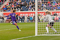 Bridgeview, IL, USA - Sunday, May 1, 2016: Orlando Pride forward Alex Morgan (13) has her shot stopped by Chicago Red Stars goalkeeper Alyssa Naeher (1) during a regular season National Women's Soccer League match between the Chicago Red Stars and the Orlando Pride at Toyota Park. Chicago won 1-0.