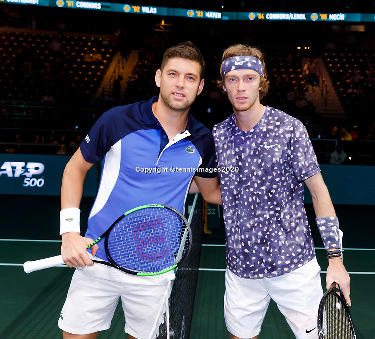 Rotterdam, The Netherlands, 14 Februari 2020, ABNAMRO World Tennis Tournament, Ahoy, <br /> Filip Krajinovic (SRB), Andrey Rublev (RUS).<br /> Photo: www.tennisimages.com