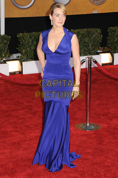 KATE WINSLET .The 15th Annual Screen Actors Guild Awards held at the Shrine Auditorium, Los Angeles, California, USA..January 25th, 2009.SAG arrivals full length long blue dress fishtail hand on hip .CAP/ADM/BP.©Byron Purvis/AdMedia/Capital Pictures.