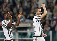 Calcio, Serie A: Juventus vs Lazio. Torino, Juventus Stadium, 20 aprile 2016.<br /> Juventus&rsquo; Kwadwo Asamoah, left, and Leonardo Bonucci celebrate at the end of the Italian Serie A football match between Juventus and Lazio at Turin's Juventus Stadium, 20 April 2016. Juventus won 3-0.<br /> UPDATE IMAGES PRESS/Isabella Bonotto