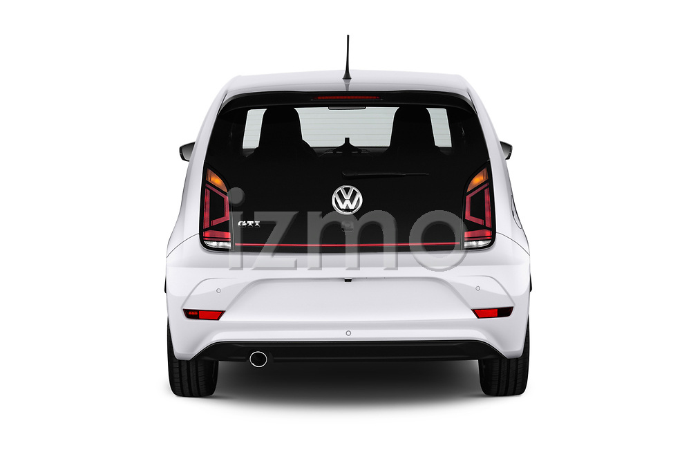 Straight rear view of a 2018 Volkswagen UP GTi 3 Door Hatchback stock images