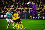 05.11.2019, Signal Iduna Park, Dortmund , GER, Champions League, Gruppenphase, Borussia Dortmund vs Inter Mailand, UEFA REGULATIONS PROHIBIT ANY USE OF PHOTOGRAPHS AS IMAGE SEQUENCES AND/OR QUASI-VIDEO<br /> <br /> im Bild | picture shows:<br /> Parade | Safe von Roman Buerki (Borussia Dortmund #1),<br /> <br /> Foto © nordphoto / Rauch