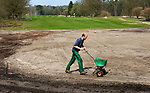 HILVERSUM - Voedingsstoffen, waaronder zeewier,  strooien op de nieuwe green van hole 1.Veranderingen aan de baan van Hilversumsche Golf Club. COPYRIGHT KOEN SUYK