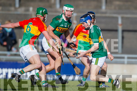 Shane Conway Kerry in action against David English Carlow in Div 2a of the National Hurling League at Austin Stack Park Tralee on Sunday.