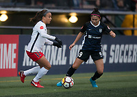 Seattle, WA - Saturday March 24, 2018: Mallory Pugh, Nahomi Kawasumi during a regular season National Women's Soccer League (NWSL) match between the Seattle Reign FC and the Washington Spirit at the UW Medicine Pitch at Memorial Stadium.