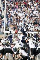 State College, PA -- 11/3/2007 --  Penn State defenders Phil Taylor (left), Aaron Maybin (59), Chris Baker (93), and Josh Gaines (right) attempt to block a Chris Summers field goal attempt during the first quarter.  Summers' field goal was good to give Purdue a 10-3 lead.  Penn State defeated Purdue by a score of 26-19 on Saturday, November 3, 2007, at Beaver Stadium...Photo:  Joe Rokita / JoeRokita.com