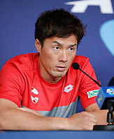 2nd January 2020; RAC Arena , Perth, Western Australia, Australia; ATP Cup Team Press conferences, Japan; Toshihide Matsui of Japan speaks at the team press conference - Editorial Use