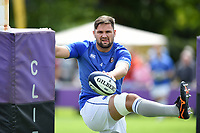 Elliott Stooke of Bath Rugby looks on during the pre-match warm-up. Pre-season friendly match, between Bristol Rugby and Bath Rugby on August 12, 2017 at the Cribbs Causeway Ground in Bristol, England. Photo by: Patrick Khachfe / Onside Images