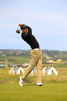 Conor O'Rourke (Naas) on the 2nd tee during the Quarter Finals of The South of Ireland in Lahinch Golf Club on Tuesday 29th July 2014.<br /> Picture:  Thos Caffrey / www.golffile.ie
