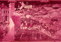 """Siena:  Palazzo Pubblico--a painting by Ambrogio Lorenzetti.  """"In the sweeping view of an actual countryside we have the first appearance of landscape since the ancient world""""....Gardner's Art Through the Ages, 6th ed., p. 422.  Reference only."""