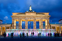 Light installation by South Korean artist Eun Sook Lee, called the Vanished Berlin Wall, in front of Berlin's Brandenburg Gate in Berlin. The project marked the 18th anniversary of the wall's fall in 1989.