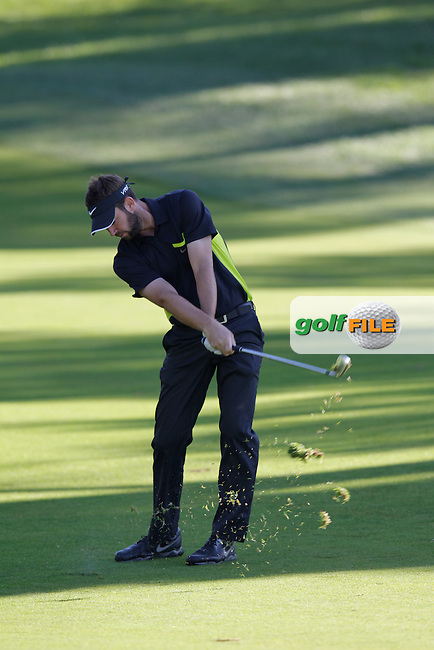 Scott Jamieson (SCO) plays his 3rd shot on the 3rd hole during Friday's Round 2 of the 2014 Open de Espana held at the PGA Catalunya Resort, Girona, Spain. Wednesday 16th May 2014.<br /> Picture: Eoin Clarke www.golffile.ie