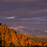 Manning Provincial Park, Southwestern BC, British Columbia, Canada - Scenic View of North Cascade Mountains, Sunset