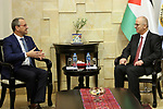 Palestinian Prime Minister, Rami Hamdallah meets with UNICEF Regional Director for the Middle East and North Africa khairat Kapalari, in the West Bank city of Ramallah, on March 4, 2019. Photo by Prime Minister Office