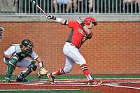 Second baseman Brendan Tracy (37) of the Fairfield Stags bats in a game against the Charlotte 49ers on Saturday, March 12, 2016, at Hayes Stadium in Charlotte, North Carolina. The 49ers catcher is Nick Daddio and the home plate umpire is Brad Newton. (Tom Priddy/Four Seam Images)