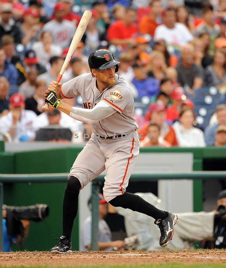 San Francisco Giants Hunter Pence (8) during a game against the Washington Nationals on August 24, 2014 at Nationals Park in Washington, DC. The Nationals beat the giants 6-2.