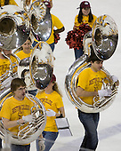 "The Boston College marching band took to the ice between the first and second periods spelling out ""EAGLES"" and ""BC"". - The Boston College Eagles defeated the visiting Boston University Terriers 5-2 on Saturday, December 4, 2010, at Conte Forum in Chestnut Hill, Massachusetts."