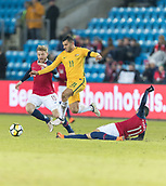 23rd March 2018, Ullevaal Stadion, Oslo, Norway; International Football Friendly, Norway versus Australia; Mohamed Elyounoussi of Norway tries to tackle Andrew Nabbout of Australia