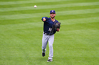 San Antonio Missions pitcher Bubba Derby (11) warms up in the outfield prior to a Pacific Coast League game against the Iowa Cubs on May 2, 2019 at Principal Park in Des Moines, Iowa. Iowa defeated San Antonio 8-6. (Brad Krause/Four Seam Images)