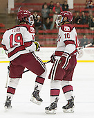 Jimmy Vesey (Harvard - 19), Brayden Jaw (Harvard - 10) - The Harvard University Crimson defeated the Brown University Bears 4-3 to sweep their first round match up in the ECAC playoffs on Saturday, March 7, 2015, at Bright-Landry Hockey Center in Cambridge, Massachusetts.
