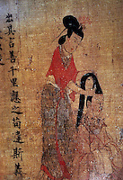 "Chinese Painting:  ""Ladies' Virtues""--detail.  A Confucian satire on vanity. The inscription emphasizes that proper conduct is more important than adornment. Said to represent Empress Jia, consort of Emperor Jin."