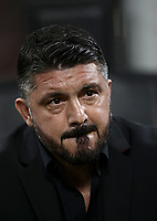 Calcio, Serie A: AC Milan - AS Roma, Milano stadio Giuseppe Meazza (San Siro) 31 agosto 2018.  <br /> Milan's coach Gennaro Gattuso prior to the start of the Italian Serie A football match between Milan and Roma at Giuseppe Meazza stadium, August 31, 2018. <br /> UPDATE IMAGES PRESS/Isabella Bonotto