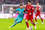03.11.2018, Allianz Arena, Muenchen, GER, 1.FBL,  FC Bayern Muenchen vs. SC Freiburg, DFL regulations prohibit any use of photographs as image sequences and/or quasi-video, im Bild Lucas Hoeler (Freiburg #9) im kampf mit James Rodriguez (FCB #11) <br /> <br />  Foto &copy; nordphoto / Straubmeier