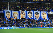 17th March 2019, Goodison Park, Liverpool, England; EPL Premier League Football, Everton versus Chelsea; a large banner depicting former legendary Everton centre forwards hangs from the Gwladys Street upper tier
