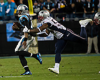 The Carolina Panthers play the New England Patriots at Bank of America Stadium in Charlotte North Carolina on Monday Night Football.  The Panthers defeated the Patriots 24-20.  Carolina Panthers quarterback Cam Newton (1), New England Patriots outside linebacker Dont'a Hightower (54)