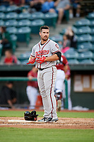Richmond Flying Squirrels left fielder Dylan Davis (10) during a game against the Altoona Curve on May 15, 2018 at Peoples Natural Gas Field in Altoona, Pennsylvania.  Altoona defeated Richmond 5-1.  (Mike Janes/Four Seam Images)