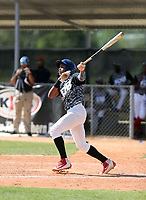 Cristian Santana participates in an international showcase hosted by JDB Baseball at the Quality Baseball Academy on February 20, 2018 in Santo Domingo, Dominican Republic (Bill Mitchell)