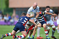 Matt Garvey of Bath Rugby takes on the Bristol Rugby defence. Pre-season friendly match, between Bristol Rugby and Bath Rugby on August 12, 2017 at the Cribbs Causeway Ground in Bristol, England. Photo by: Patrick Khachfe / Onside Images