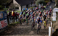 Women's race start up the infamous (and steep) Koppenberg cobbles<br /> <br /> Koppenbergcross / Belgium 2017