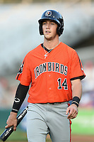Aberdeen IronBirds second baseman Stephen Wilkerson (14) walks to the dugout during a game against the Williamsport Crosscutters on August 4, 2014 at Bowman Field in Williamsport, Pennsylvania.  Aberdeen defeated Williamsport 6-3.  (Mike Janes/Four Seam Images)
