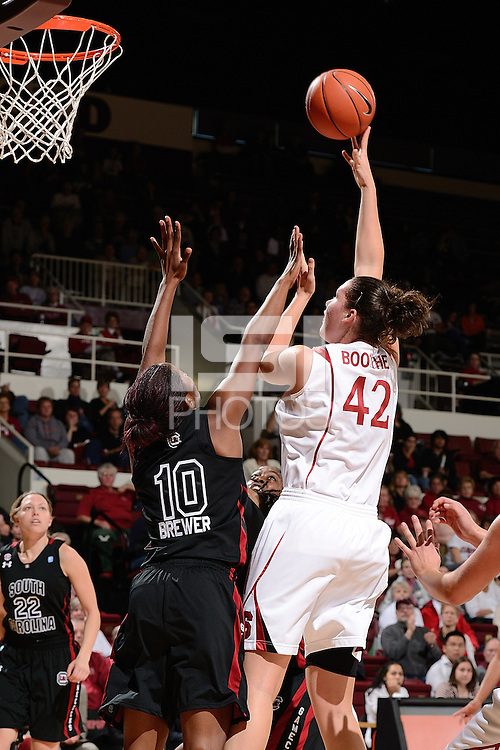 STANFORD, CA - NOVEMBER 26: Sarah Boothe of Stanford women's basketball puts up a hook shot in a game against South Carolina on November 26, 2010 at Maples Pavilion in Stanford, California.  Stanford topped South Carolina, 70-32.