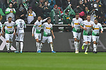 06.10.2019, Borussia-Park - Stadion, Moenchengladbach, GER, DFL, 1. BL, Borussia Moenchengladbach vs. FC Augsburg, DFL regulations prohibit any use of photographs as image sequences and/or quasi-video<br /> <br /> im Bild Patrick Herrmann (#7, Borussia Moenchengladbach) jubelt nach seinem Tor zum 3:0 mit seiner Mannschaft<br /> <br /> Foto © nordphoto/Mauelshagen